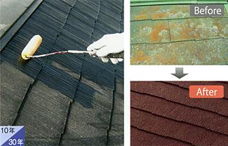 屋根(彩色ストレート板)再塗装
